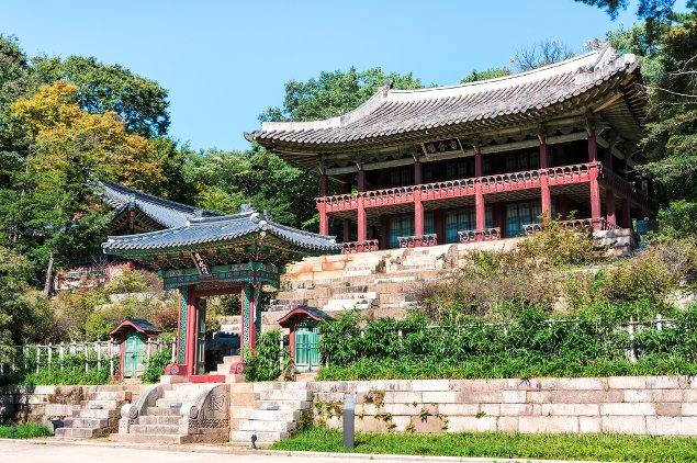 The royal library inside the secret garden of Changdeokgung Palace in Seoul, South Korea.
